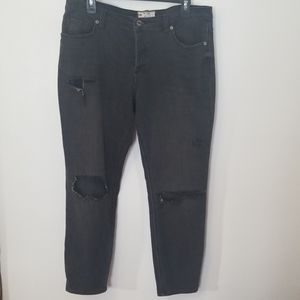 Free People Distressed Netted Black Jeans Size 31